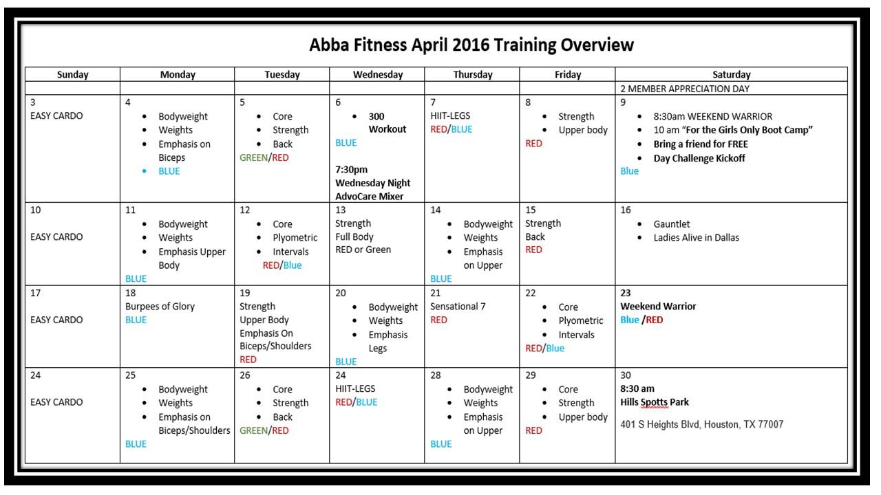 April Training Schedule