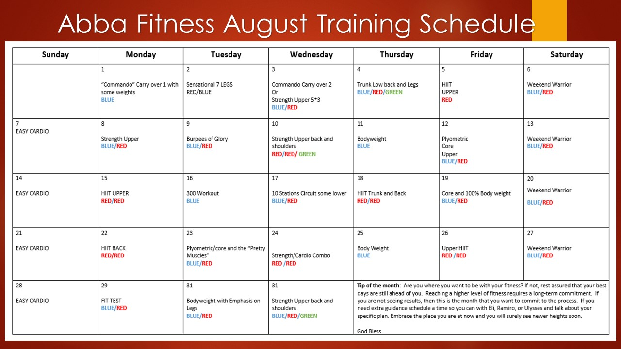 Monthly training August schedule 2016
