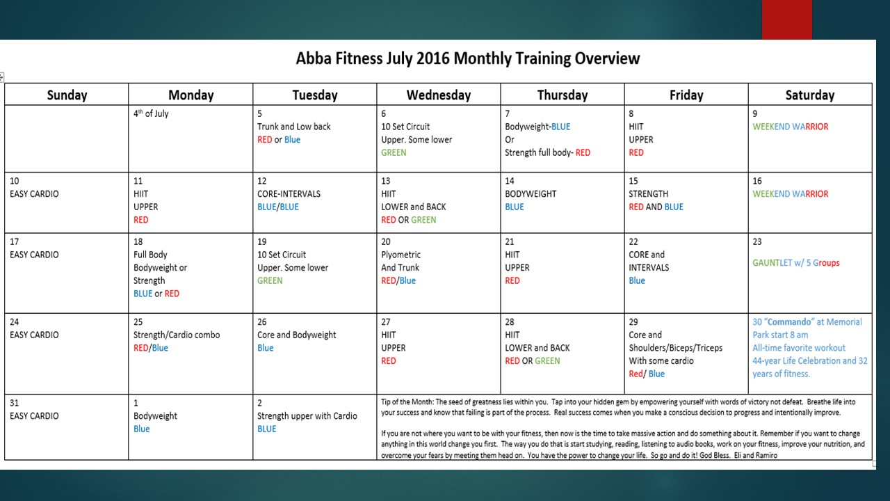 monthly schedule july 2016