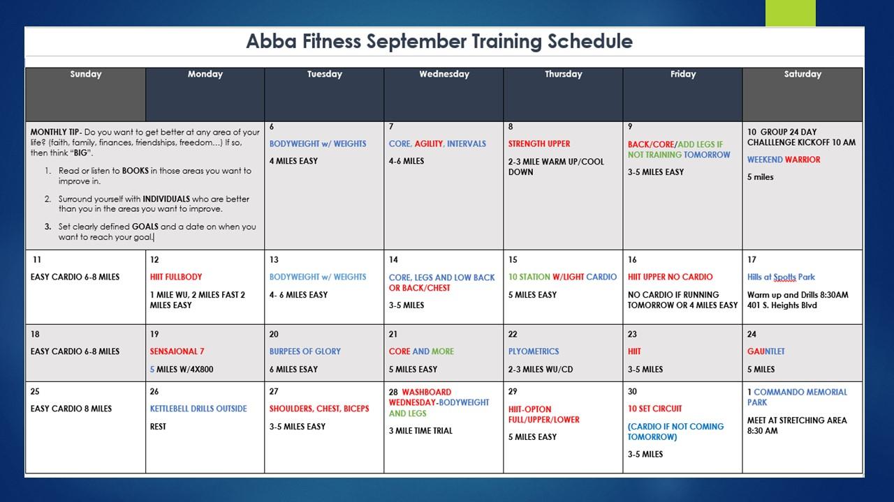 monthly schedule september 2016