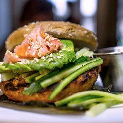 A tasty gourmet hamburger from our burger menu,