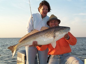 Big Beautiful Bull Red Fish Caught On Bayou Log Cabins Fishing Charter