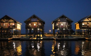 A photo of 4 of our log cabins on Lake Hermitage bayou