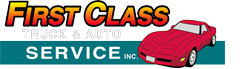 First Class Truck & Auto Service, Inc. Logo with white text