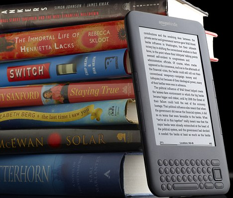 Kindle e-book.The slimline Kindle?s electronic ink screen is de