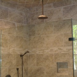 Tall ceilings make for a roomy shower in this bathroom remodel by Chicago contractors Home Services Direct.