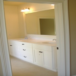 A bright, clean look complements this Chicago bathroom remodel by Home Services Direct.