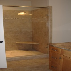 Beautiful counter tops complete this Home Services Direct bathroom remodel in Chicago.