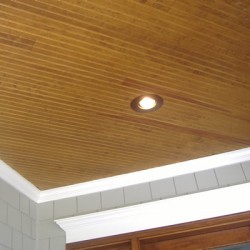 Recessed lighting brings modern functionality to the porch of this house remodeling project by Home Services Direct in Chicago.
