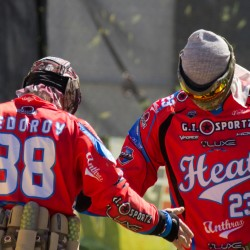 Fedorov and Solnyshkov playing for the professional paintball team in Houston.