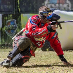 Siewers taking an action stance in the latest Houston spectator sport, professional paintball.