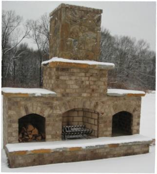 backyard fireplace install