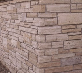 Close up of a ledgestone wall corner in the Boulder area.