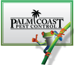 Palm Coast Pest Control in Florida Rectangle Logo with Frog