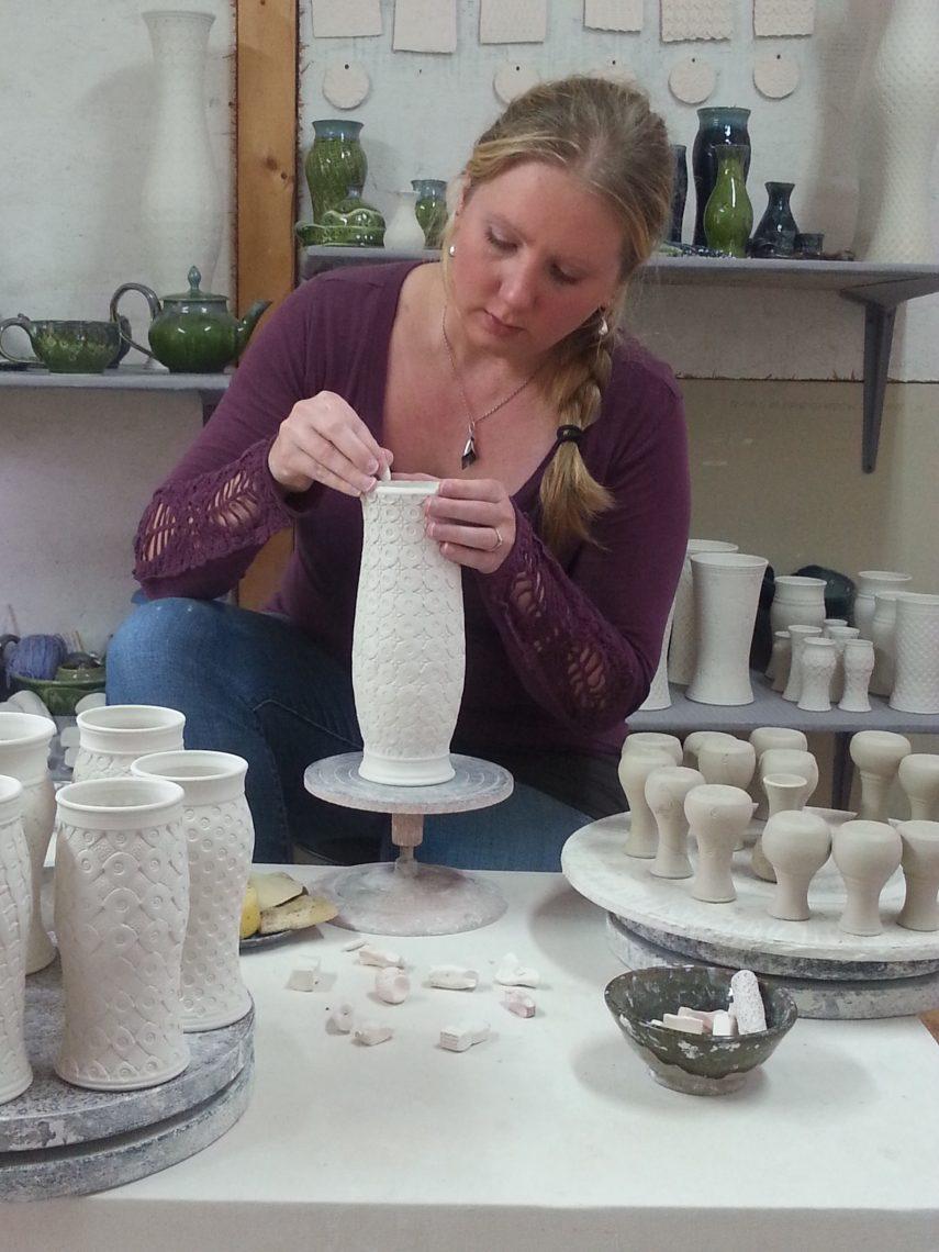 Kelsey working in the studio