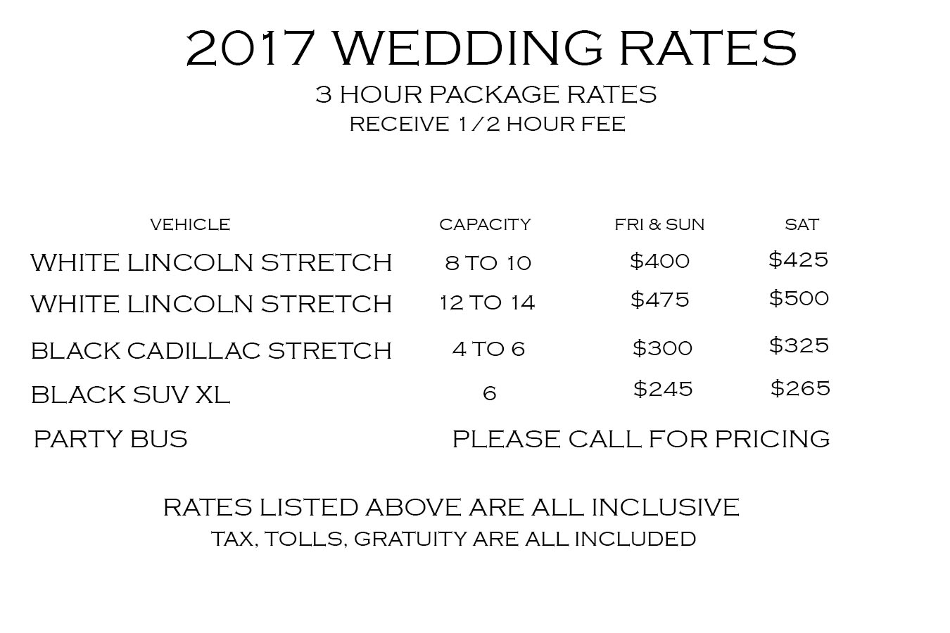Wedding Rates for 2017