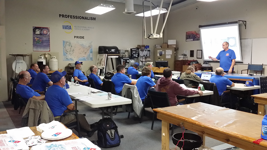 Class receiving lecture from Bob our head instructor