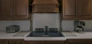 Kitchen backsplash tile over the kitchen sink
