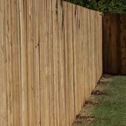 freshly installed wooden fence shot of corner