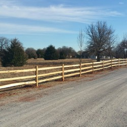one of our wooden ranch fence installations